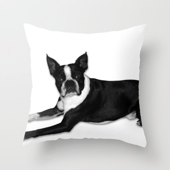 Fetch Boston Terrier B/W Throw Pillow