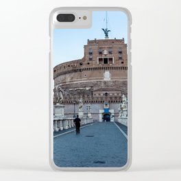 Ponte Sant'Angelo and Castel Sant'Angelo at early morning in Rome, Italy Clear iPhone Case