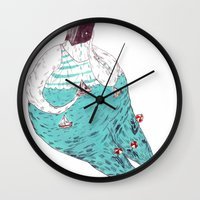 fat Wall Clocks featuring sad fat and ugly by mariana, a miserável(the miserable one)