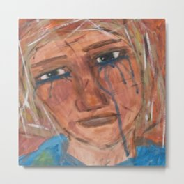 Abstract Portrait Face of a Sad Woman outsider visionary artist Metal Print