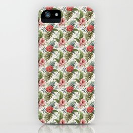 Tropical Flower and Leaves Be like a Pineapple Quote iPhone Case