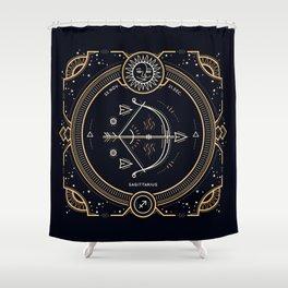 Sagittarius Zodiac Golden White on Black Background Shower Curtain
