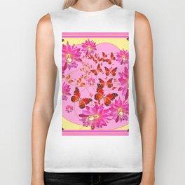 Modern Pink Butterflies Floral Abstract Biker Tank