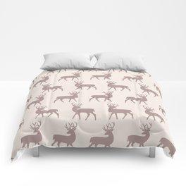 Mid Century Modern Deer Pattern Beige 3 Comforters