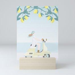 Scooter ride in the sun  past lemons and lemon trees Mini Art Print