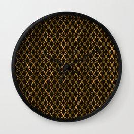 Golden Brown Scissor Stripes Wall Clock
