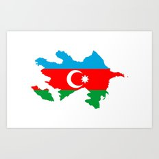 Azerbaijan flag map Art Print