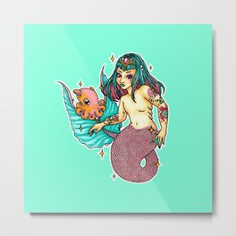 Mermaid Amphitrite Metal Print