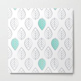 Silver Foil & Mint Leaves Pattern Metal Print