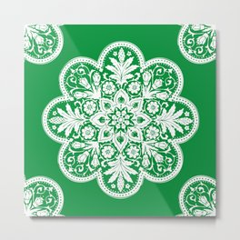 Floral Doily Pattern | Green and White Metal Print