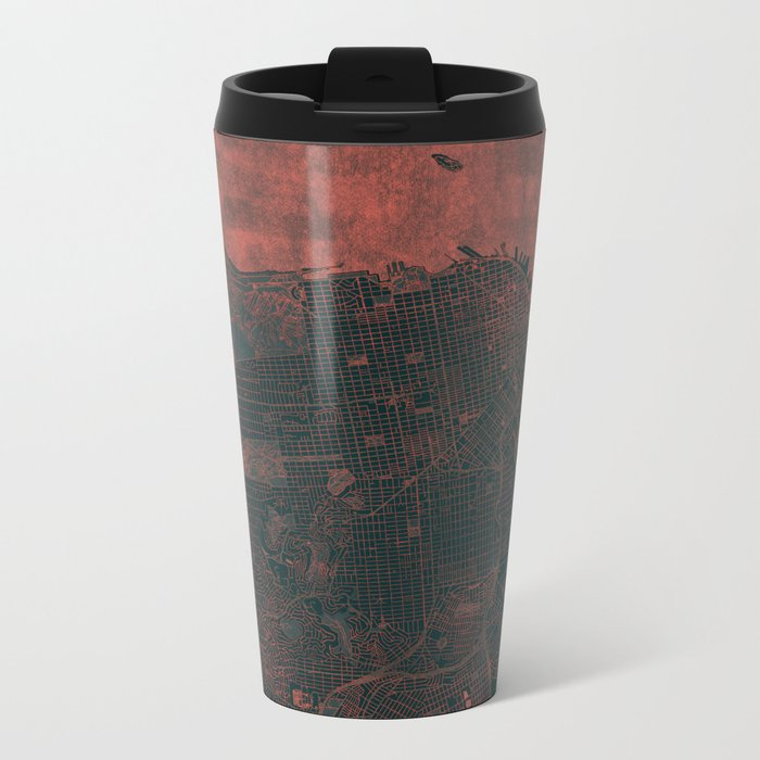 San Francisco Map Red Metal Travel Mug