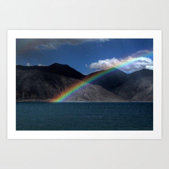The Rainbow at Pangong! Art Print