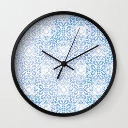 Blue Winter Damask Décor Pattern Graphic Design Wall Clock