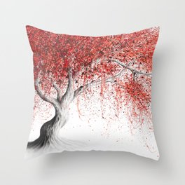 Strawberry Fall Tree Throw Pillow