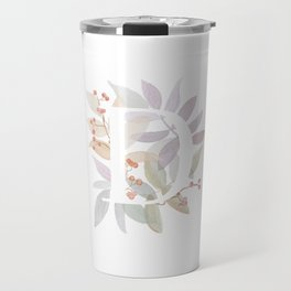 Floral Initial D - Rustic Watercolor Letter - Typography - Wreath Design Travel Mug