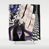 psychadelic Shower Curtains featuring 'Carve your own' by Jessica Hofert - Design & Illustration