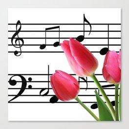 Music Sheet & Tulip Flowers Canvas Print