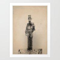 blueprint Art Prints featuring American Blueprint by memoryradio