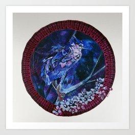Dark-crowned Night Heron and Tamarisk Art Print