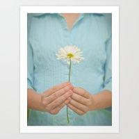 girl holding daisy Art Print