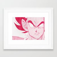 vegeta Framed Art Prints featuring Vegeta Red by DeMoose_Art