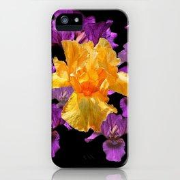 LILAC PURPLE & GOLDEN IRIS ART PATTERN BLACK DESIGN iPhone Case