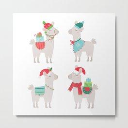 Christmas llamas Metal Print