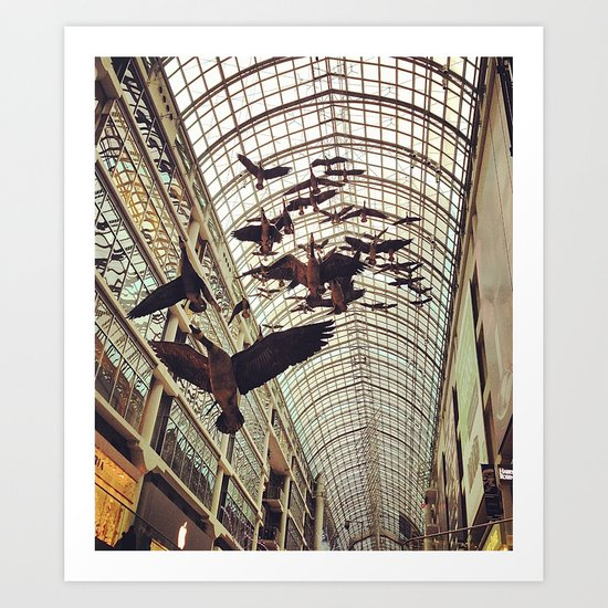 bird christmas shopping Art Print