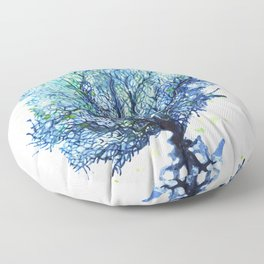 Fan Coral - Aqua Floor Pillow