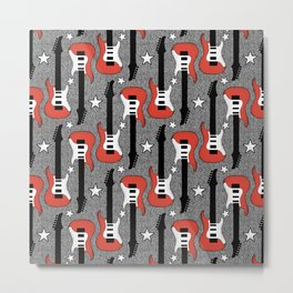 Rock and Roll_ Red and White Guitar Metal Print
