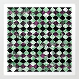 Diamond Pattern In Green, Black And Purple Art Print