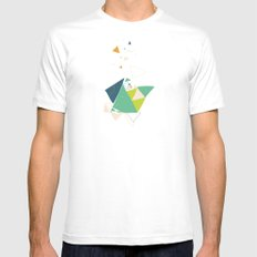 Exploding Triangles//Six White SMALL Mens Fitted Tee