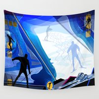 skiing Wall Tapestries featuring Cross Country Skiing by Robin Curtiss