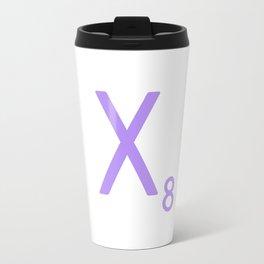 Letter X Lavender Monogram Scrabble Travel Mug