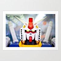 gundam Art Prints featuring Portrait Gundam by Long Thai - mineralblu.com
