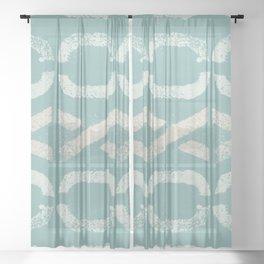 Shapes Of Love - Retro Pastel Green Sheer Curtain