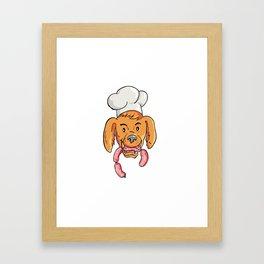 Chef Dog Biting Sausage String Cartoon Color Framed Art Print