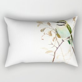 White-Throated Bee-Eater, Sage green, brown, olive green Rectangular Pillow