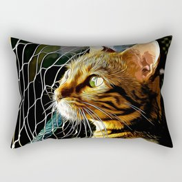 bengal cat yearns for freedom vector art Rectangular Pillow