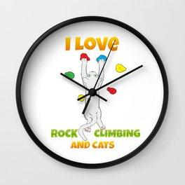 Rock Climbing Cat Funny Bouldering Wall Clock
