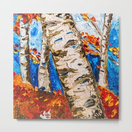 BIRCHES IN RED Metal Print