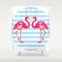 Flamingo, Flamingo t-shirt, watercolor poster, pink in blue stripes, circle Shower Curtain