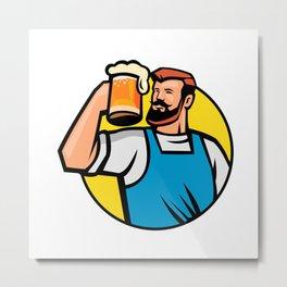 Bearded Hipster Toasting Beer Mug Circle Mascot Metal Print