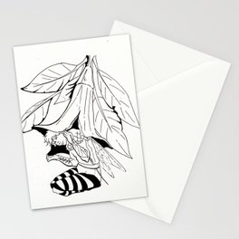 Fairy under angel trumpet - Lineart Stationery Cards