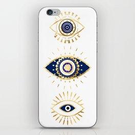 evil eye times 3 navy on white iPhone Skin