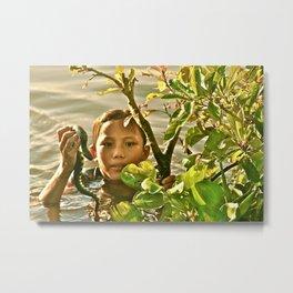 Tonle Sap Lake, Cambodia- Girl with Snake Metal Print