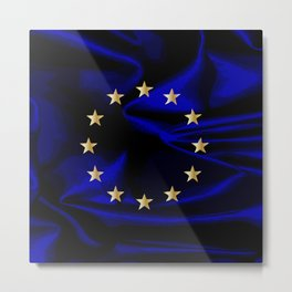 EU Silk Flag Metal Print