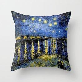Van Gogh Starry Night Over the Rhône Throw Pillow