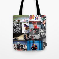 formula 1 Tote Bags featuring Formula 1 Collage by Rassva