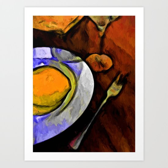 Lemon, Glass and Fork with some Gold and Orange Art Print